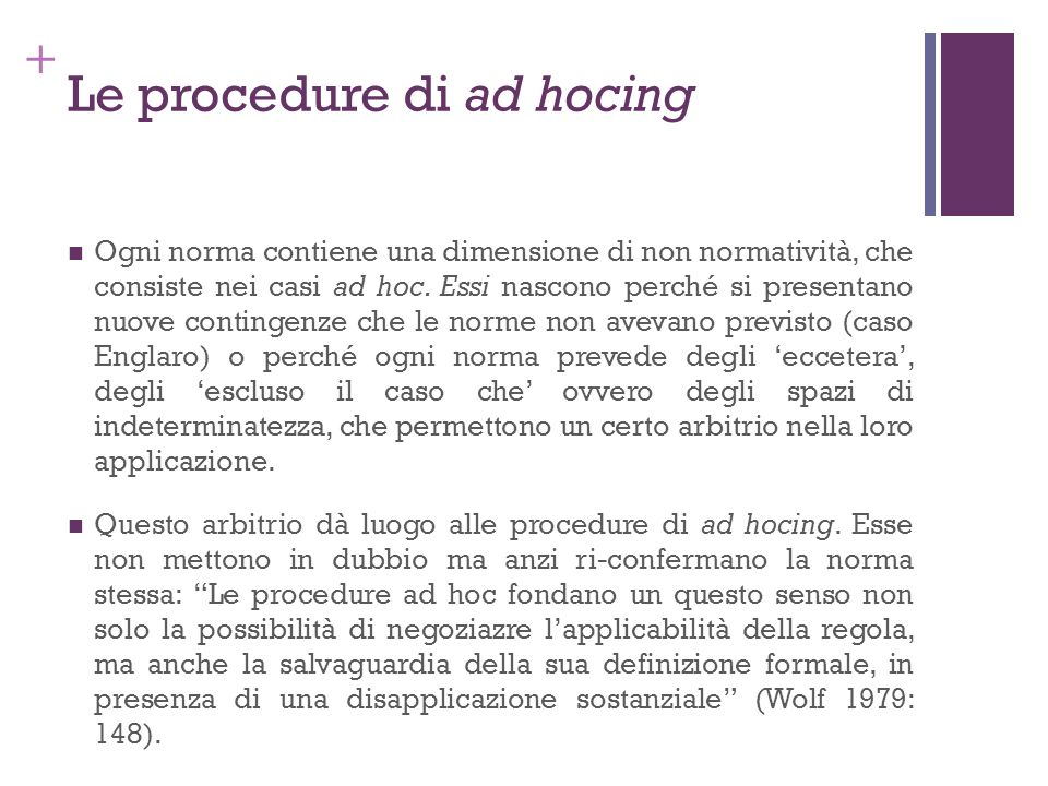 Le procedure di ad hocing