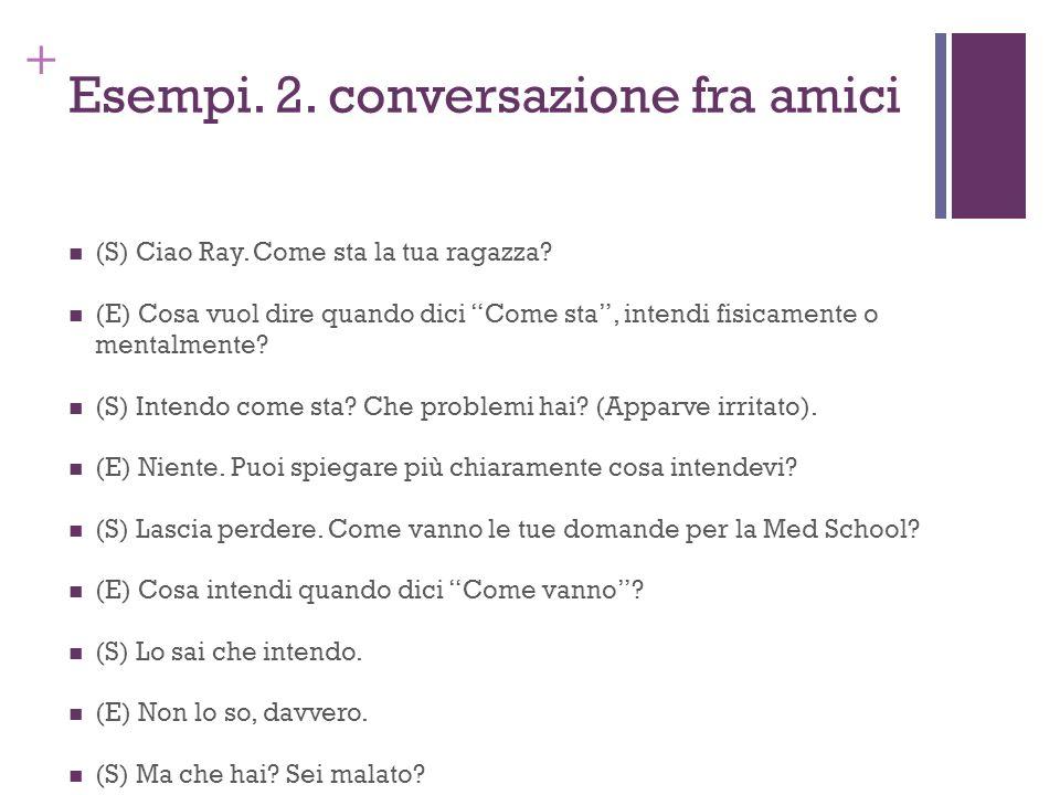 Esempi. 2. conversazione fra amici