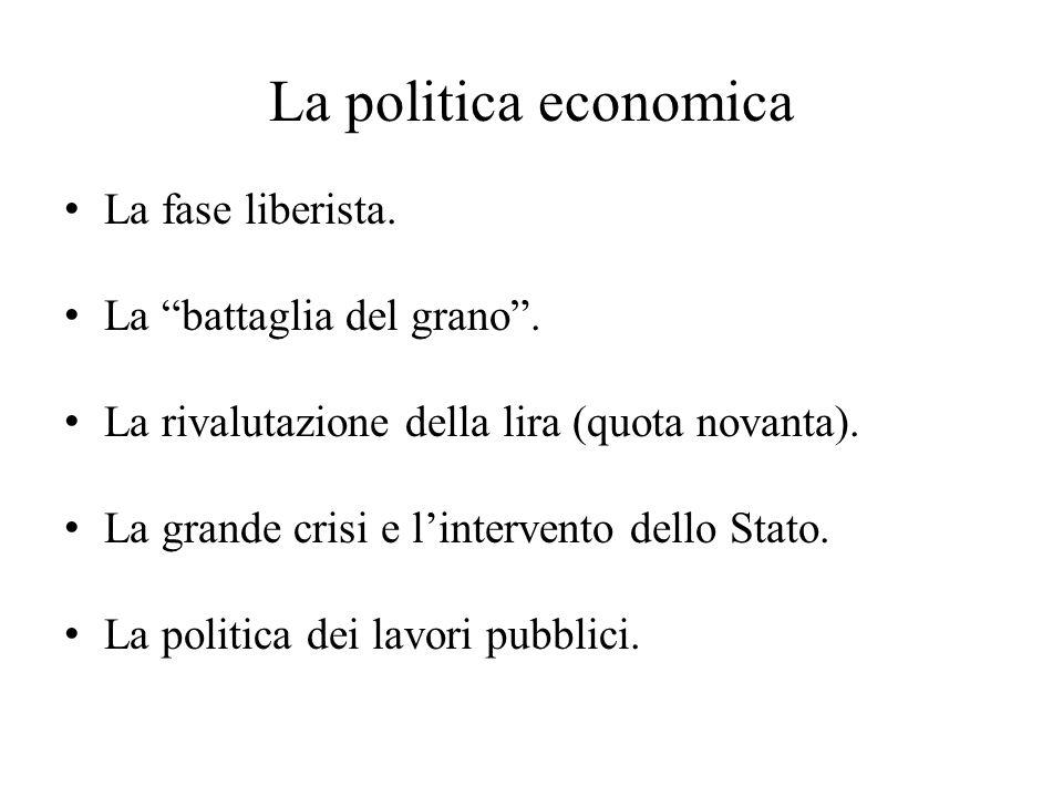 La politica economica La fase liberista. La battaglia del grano .