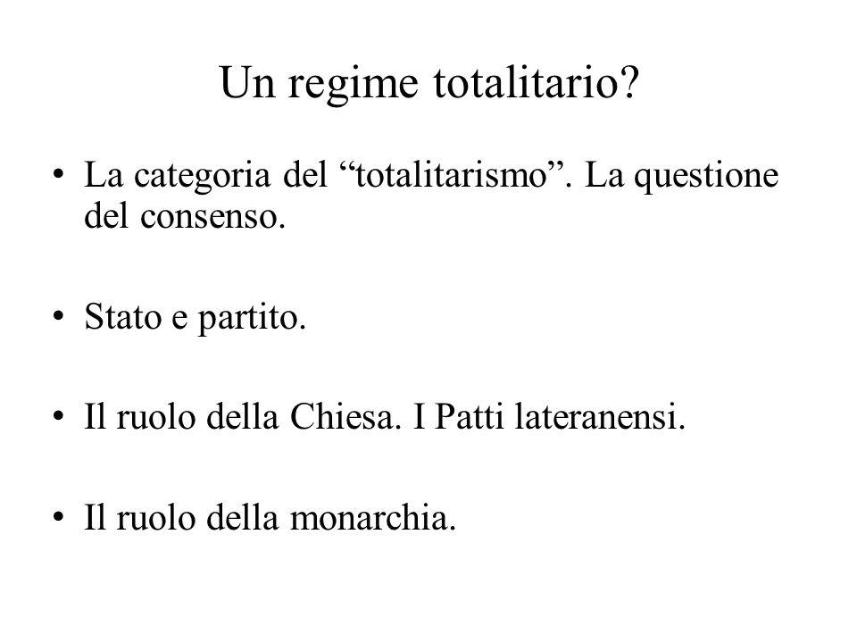 Un regime totalitario La categoria del totalitarismo . La questione del consenso. Stato e partito.