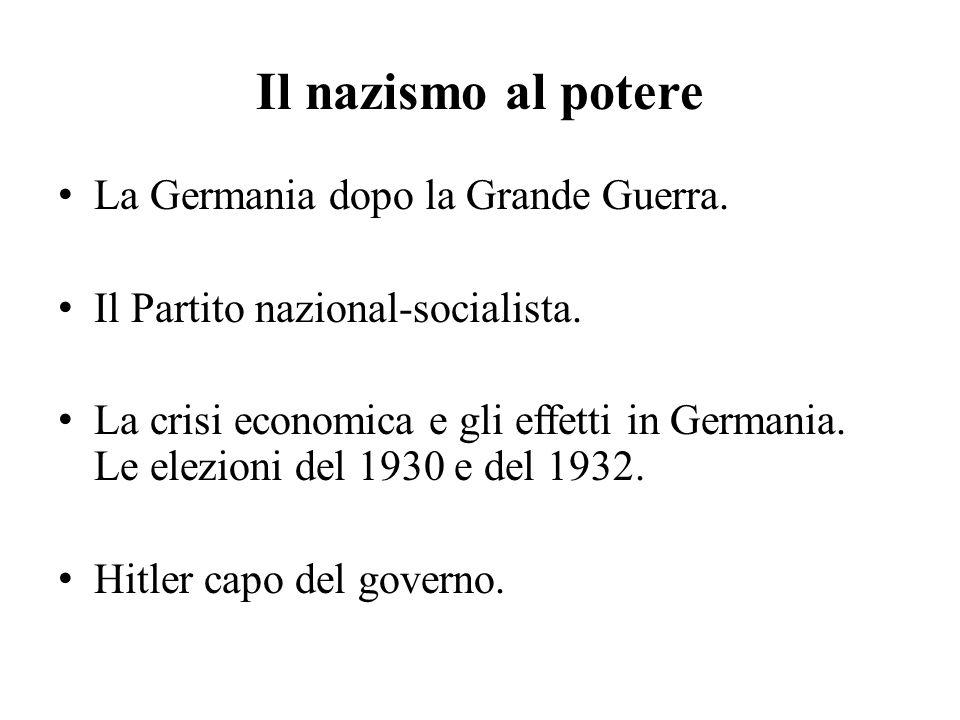 Il nazismo al potere La Germania dopo la Grande Guerra.