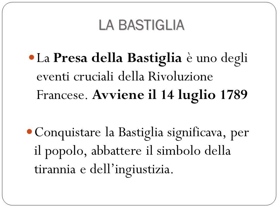 LA BASTIGLIA La Presa della Bastiglia è uno degli eventi cruciali della Rivoluzione Francese. Avviene il 14 luglio 1789.
