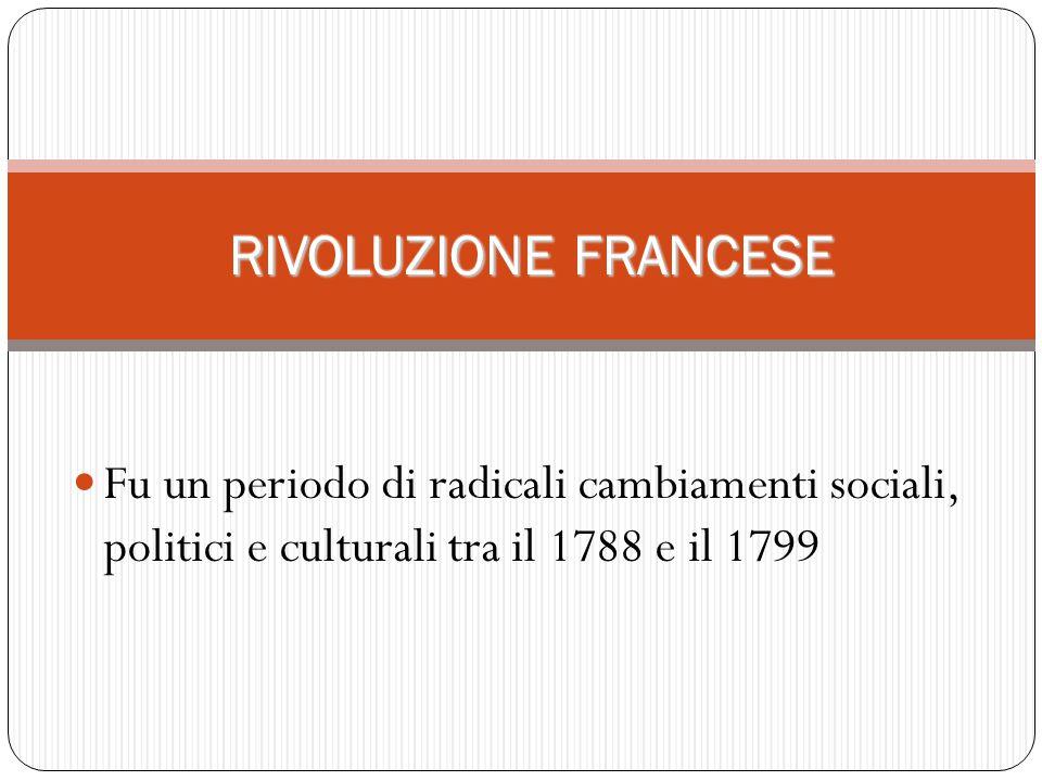 RIVOLUZIONE FRANCESE Fu un periodo di radicali cambiamenti sociali, politici e culturali tra il 1788 e il 1799.