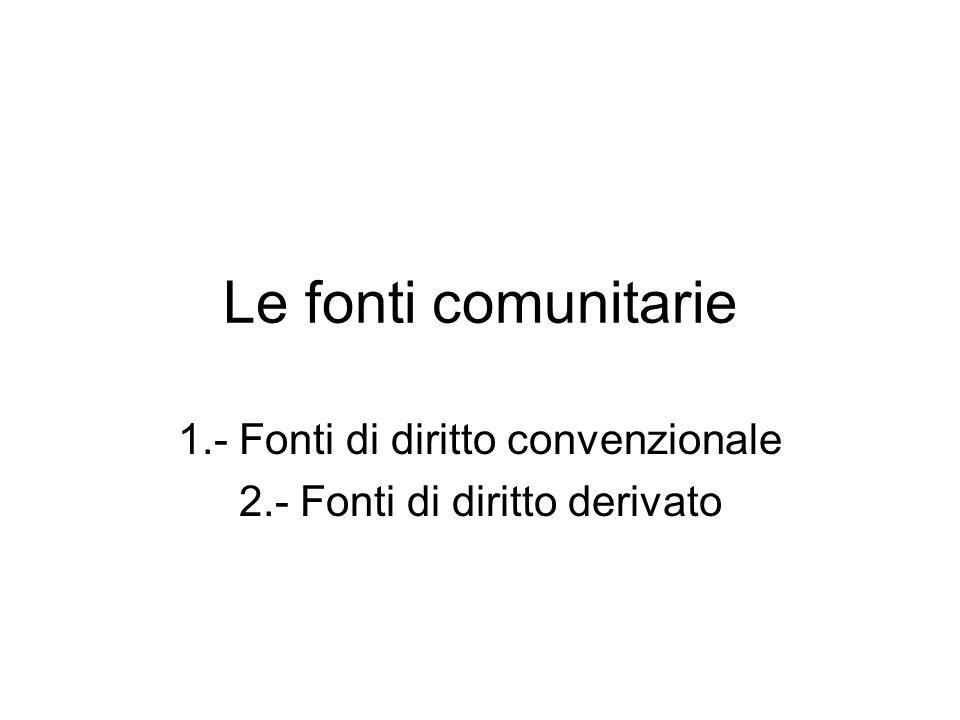 1.- Fonti di diritto convenzionale 2.- Fonti di diritto derivato