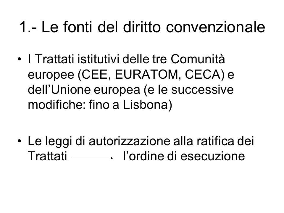1.- Le fonti del diritto convenzionale