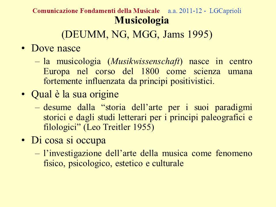 (DEUMM, NG, MGG, Jams 1995) Dove nasce Qual è la sua origine