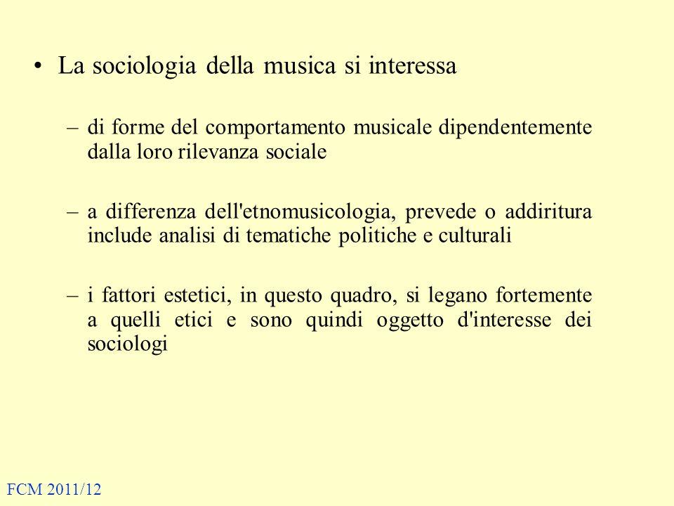 La sociologia della musica si interessa