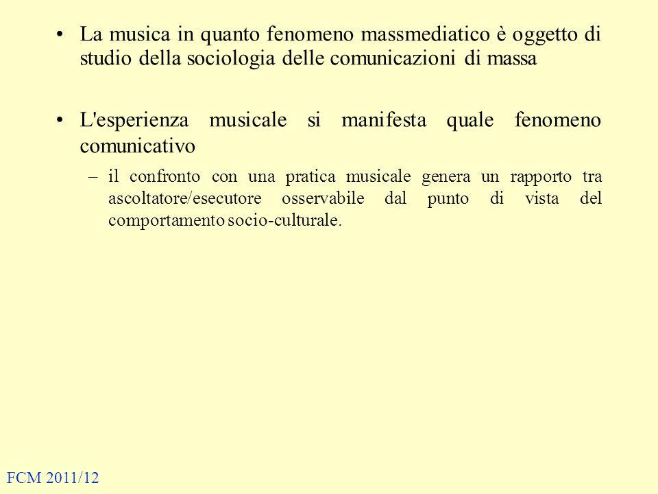 L esperienza musicale si manifesta quale fenomeno comunicativo