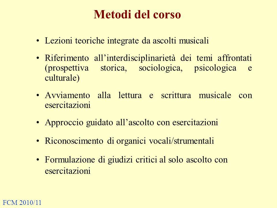 Metodi del corso Lezioni teoriche integrate da ascolti musicali