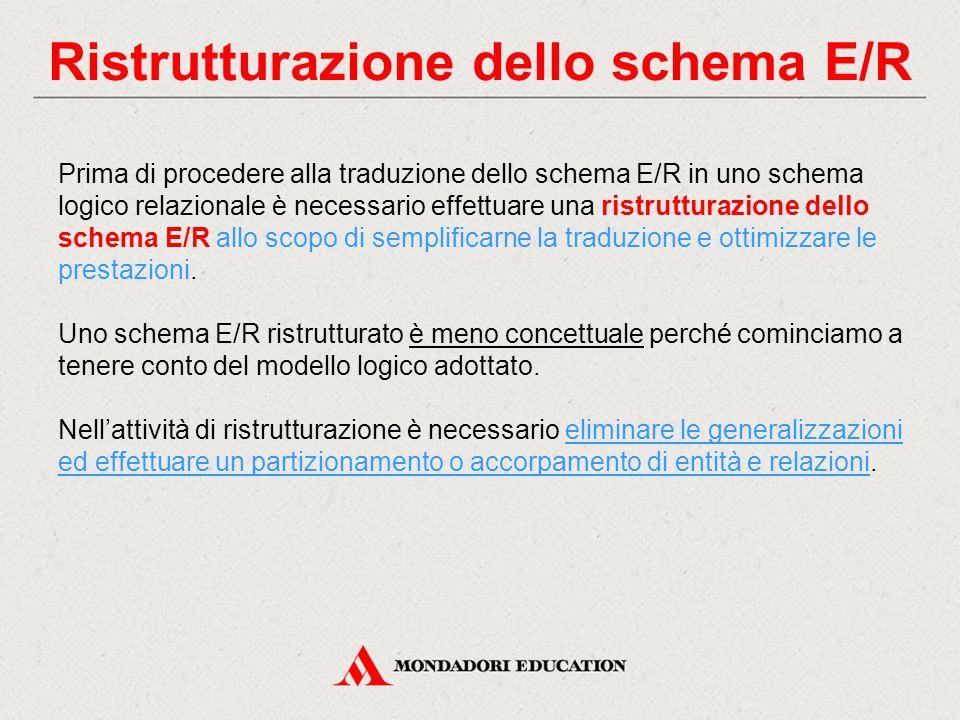 Ristrutturazione dello schema E/R
