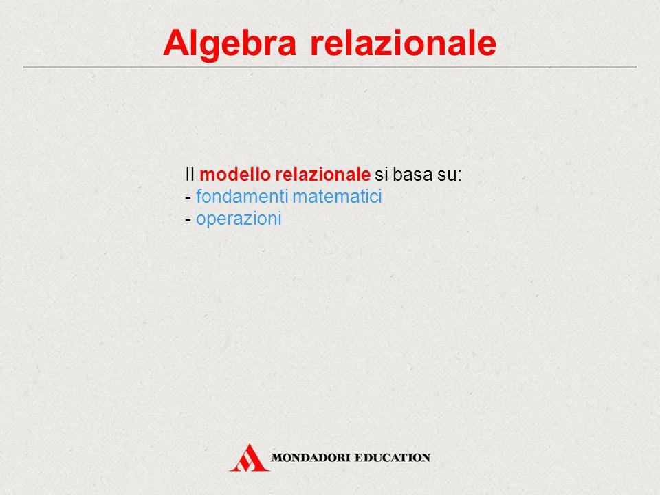 Algebra relazionale Il modello relazionale si basa su: