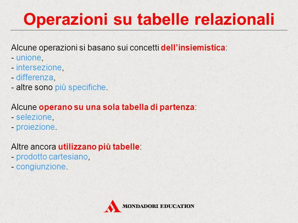 Operazioni su tabelle relazionali
