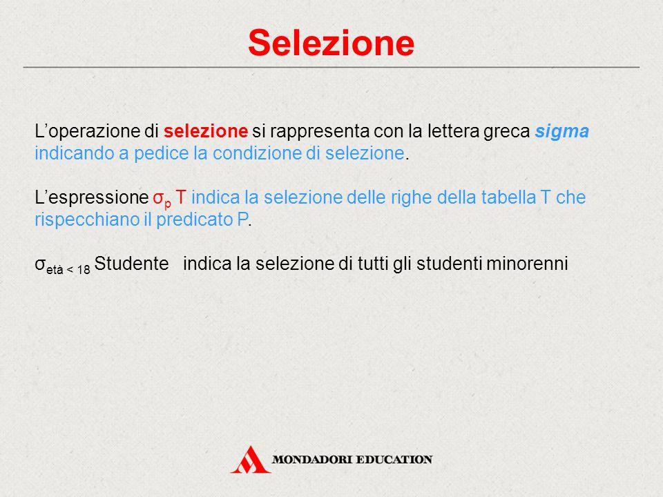 Selezione L'operazione di selezione si rappresenta con la lettera greca sigma indicando a pedice la condizione di selezione.