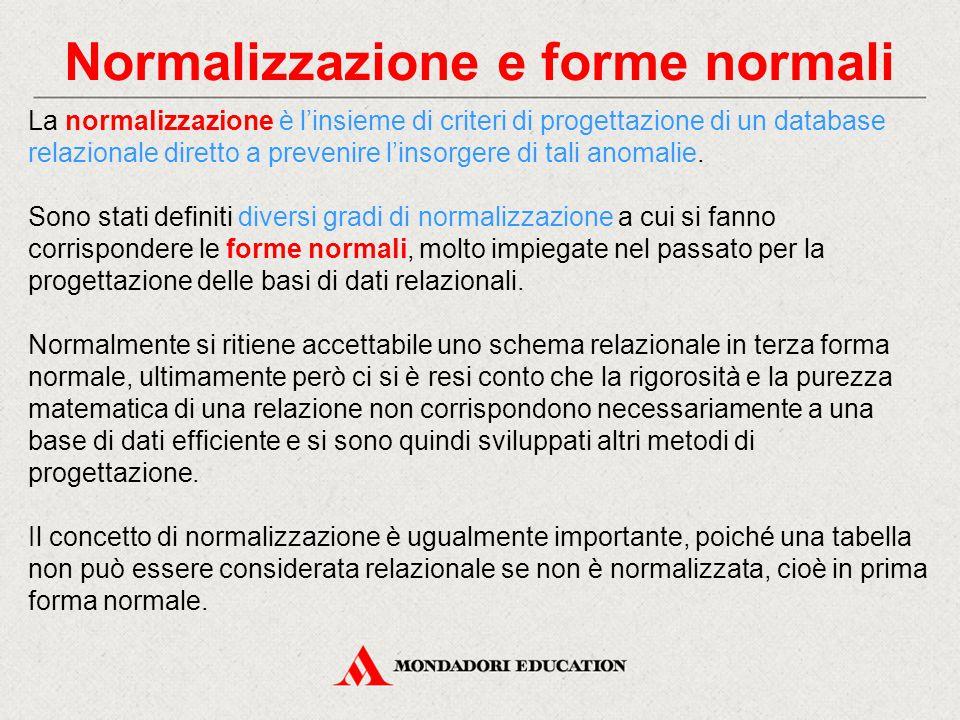 Normalizzazione e forme normali