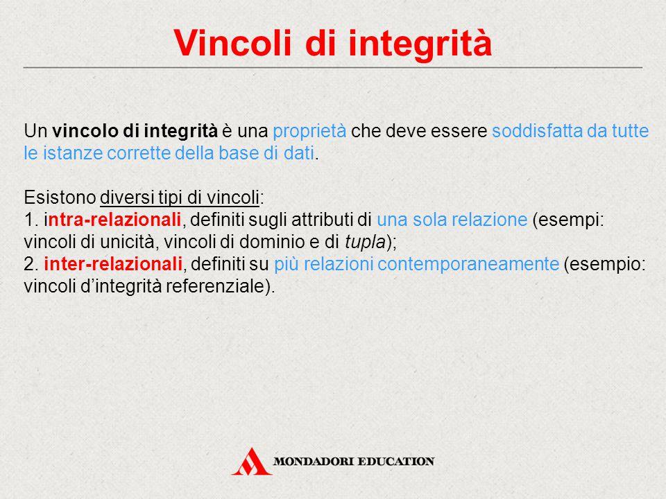 Vincoli di integrità Un vincolo di integrità è una proprietà che deve essere soddisfatta da tutte le istanze corrette della base di dati.