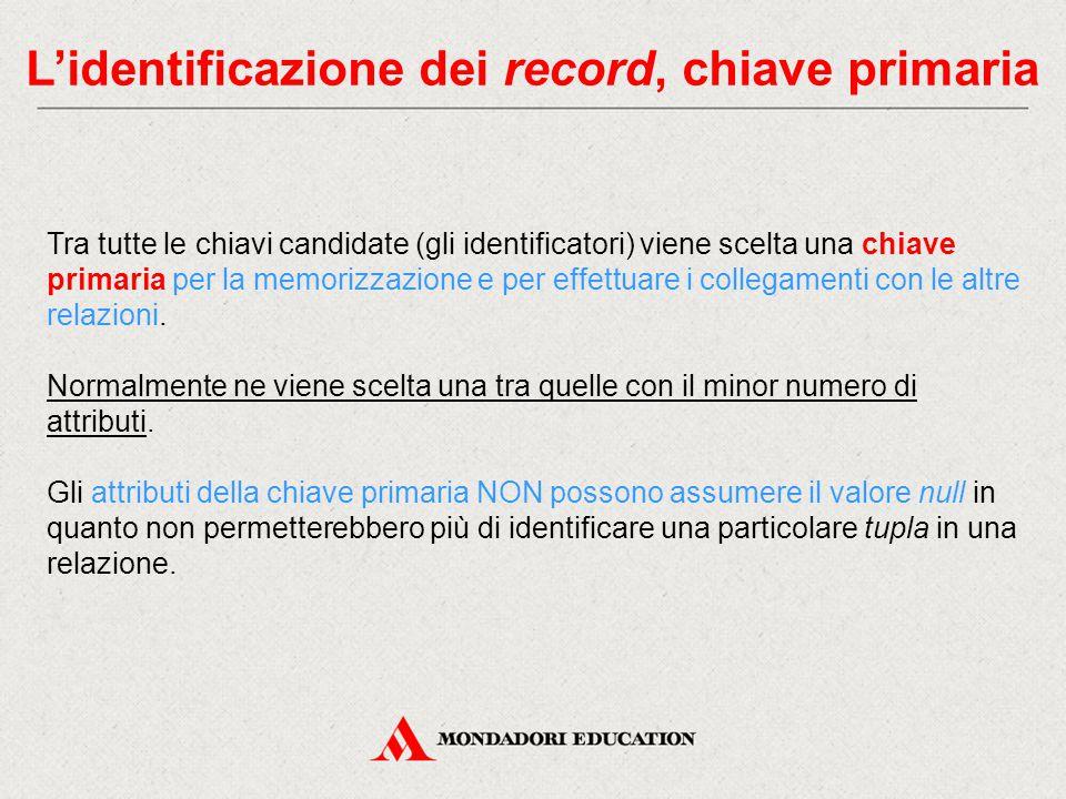 L'identificazione dei record, chiave primaria