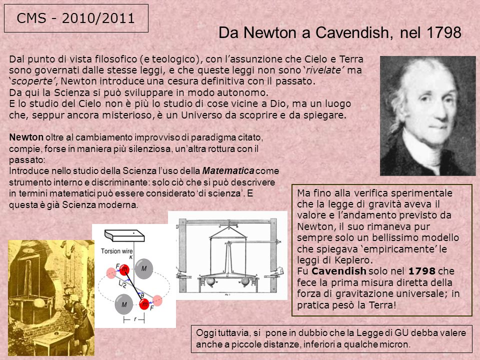 Da Newton a Cavendish, nel 1798