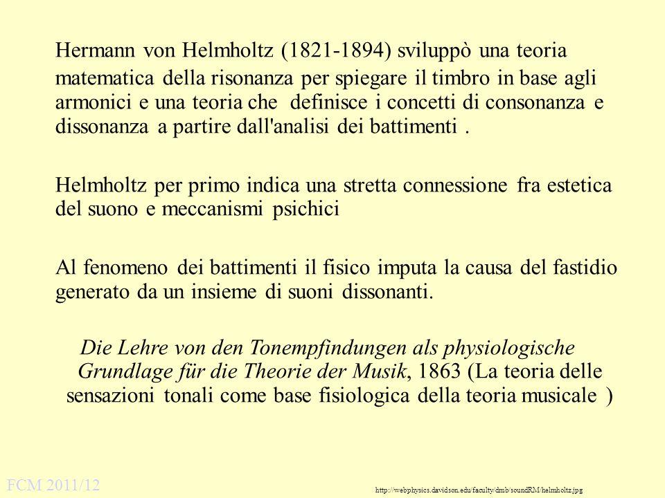 Hermann von Helmholtz (1821-1894) sviluppò una teoria matematica della risonanza per spiegare il timbro in base agli armonici e una teoria che definisce i concetti di consonanza e dissonanza a partire dall analisi dei battimenti .
