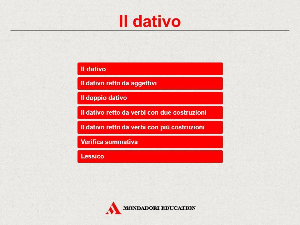 Il dativo Il dativo Il dativo retto da aggettivi Il doppio dativo