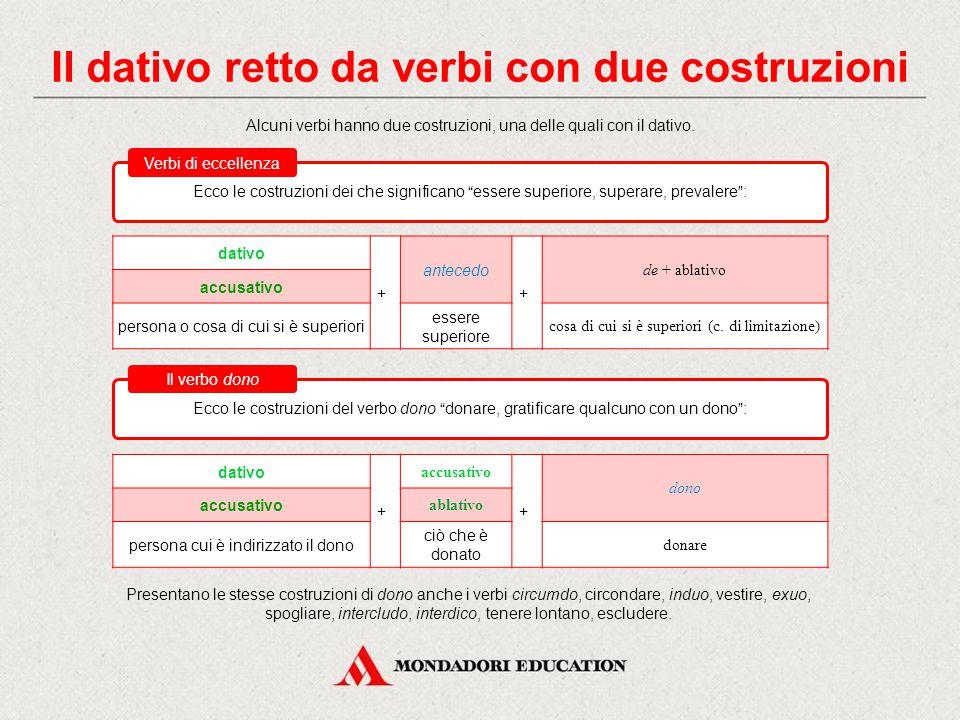 Il dativo retto da verbi con due costruzioni