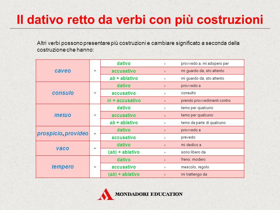 Il dativo retto da verbi con più costruzioni