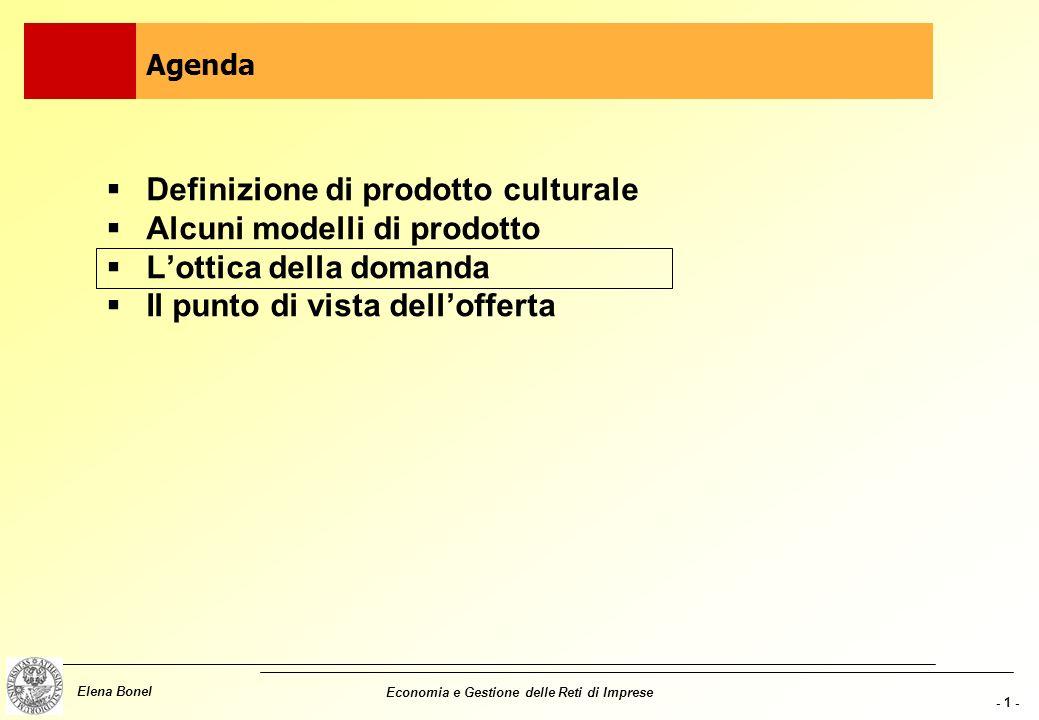 Definizione di prodotto culturale Alcuni modelli di prodotto