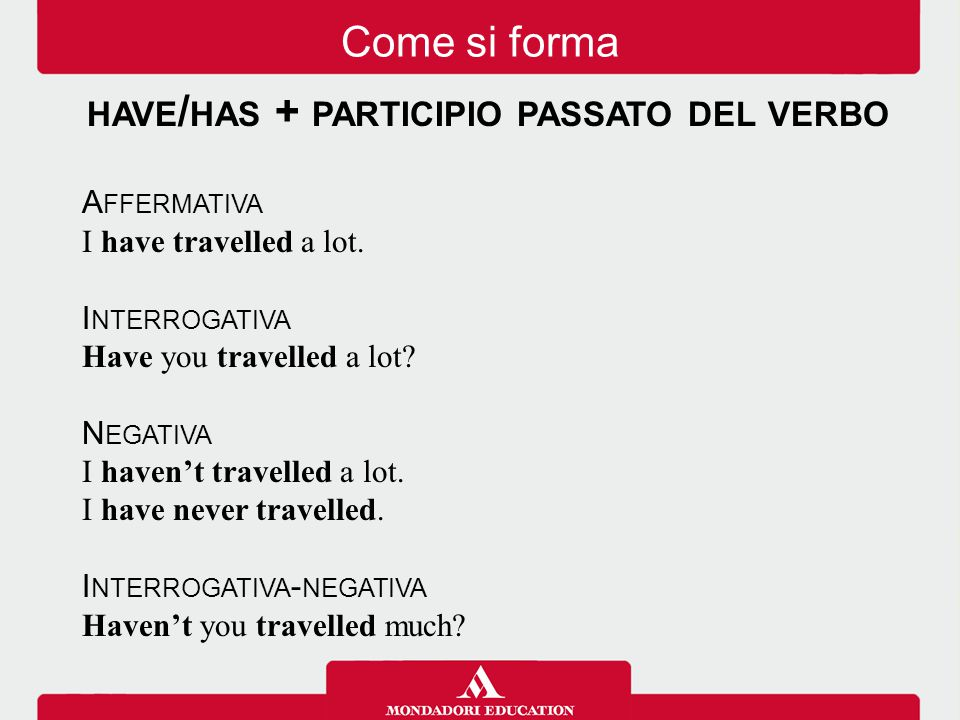 have/has + participio passato del verbo