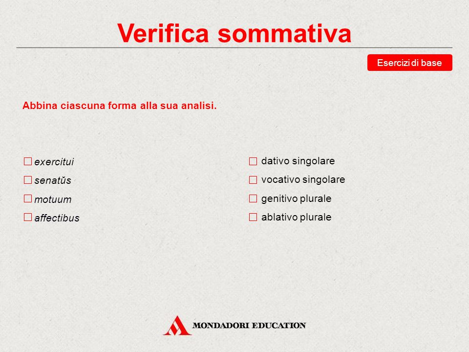 Verifica sommativa Abbina ciascuna forma alla sua analisi. exercitui