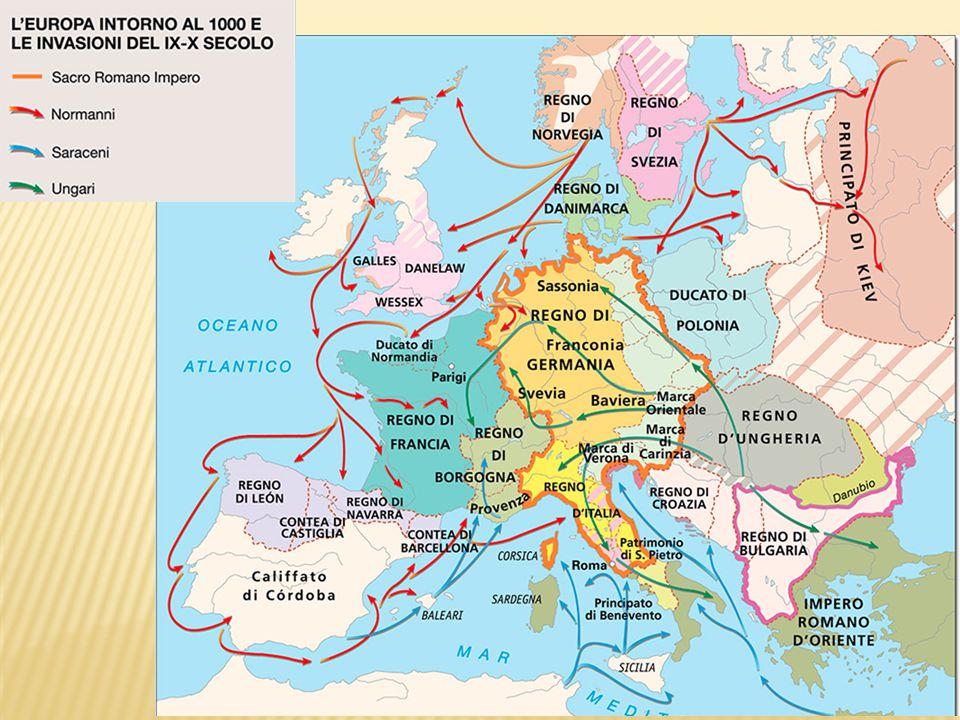La disgregazione dell'impero carolingio e la formazione di nuove realtà politiche è favorita anche da nuove invasioni che interessano l' Europa da ogni lato: da Est gli Ungari (o Magiari)