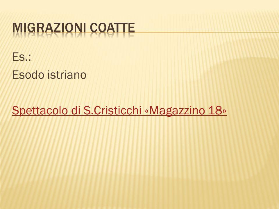 MIGRAZIONI COATTE Es.: Esodo istriano Spettacolo di S.Cristicchi «Magazzino 18»