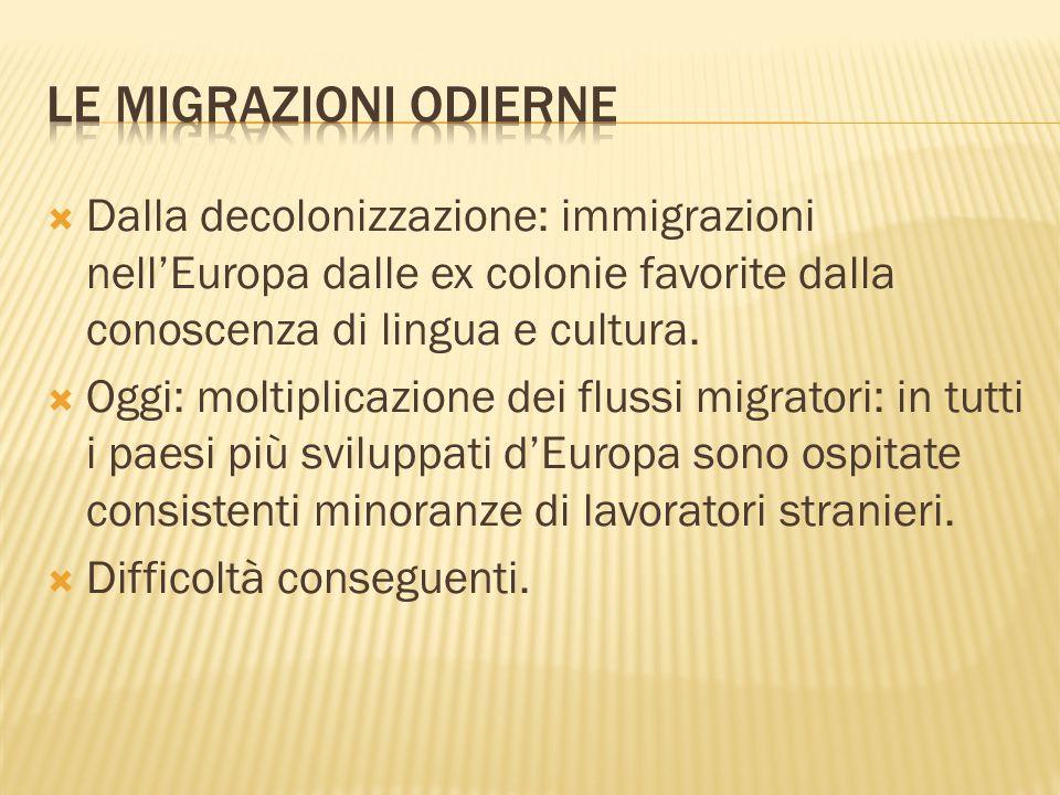 LE MIGRAZIONI ODIERNE Dalla decolonizzazione: immigrazioni nell'Europa dalle ex colonie favorite dalla conoscenza di lingua e cultura.