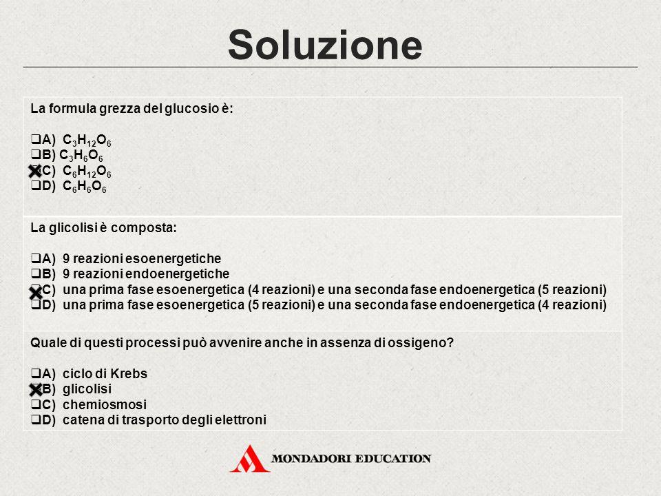 Soluzione La formula grezza del glucosio è: A) C3H12O6 B) C3H6O6