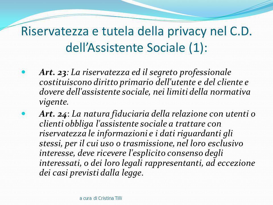 Riservatezza e tutela della privacy nel C. D