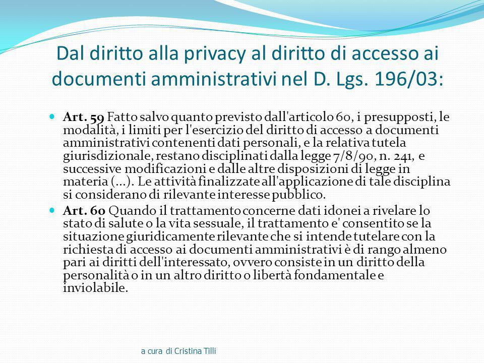 Dal diritto alla privacy al diritto di accesso ai documenti amministrativi nel D. Lgs. 196/03: