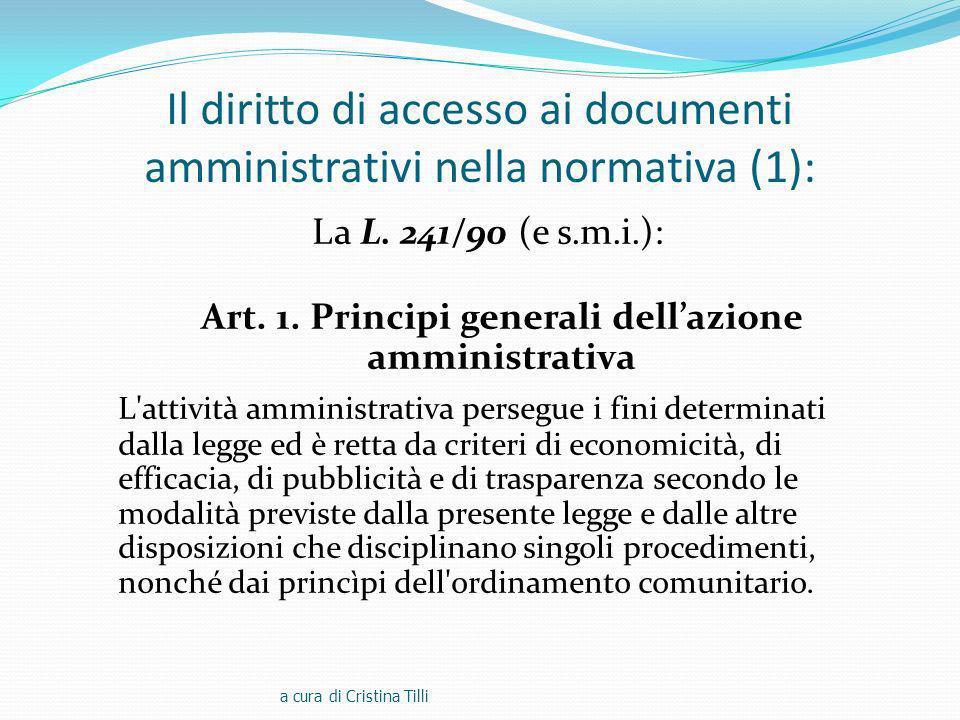Il diritto di accesso ai documenti amministrativi nella normativa (1):