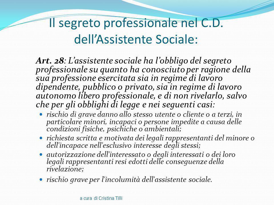 Il segreto professionale nel C.D. dell'Assistente Sociale: