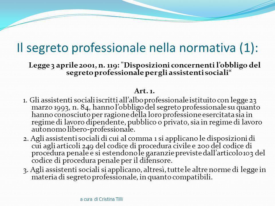 Il segreto professionale nella normativa (1):