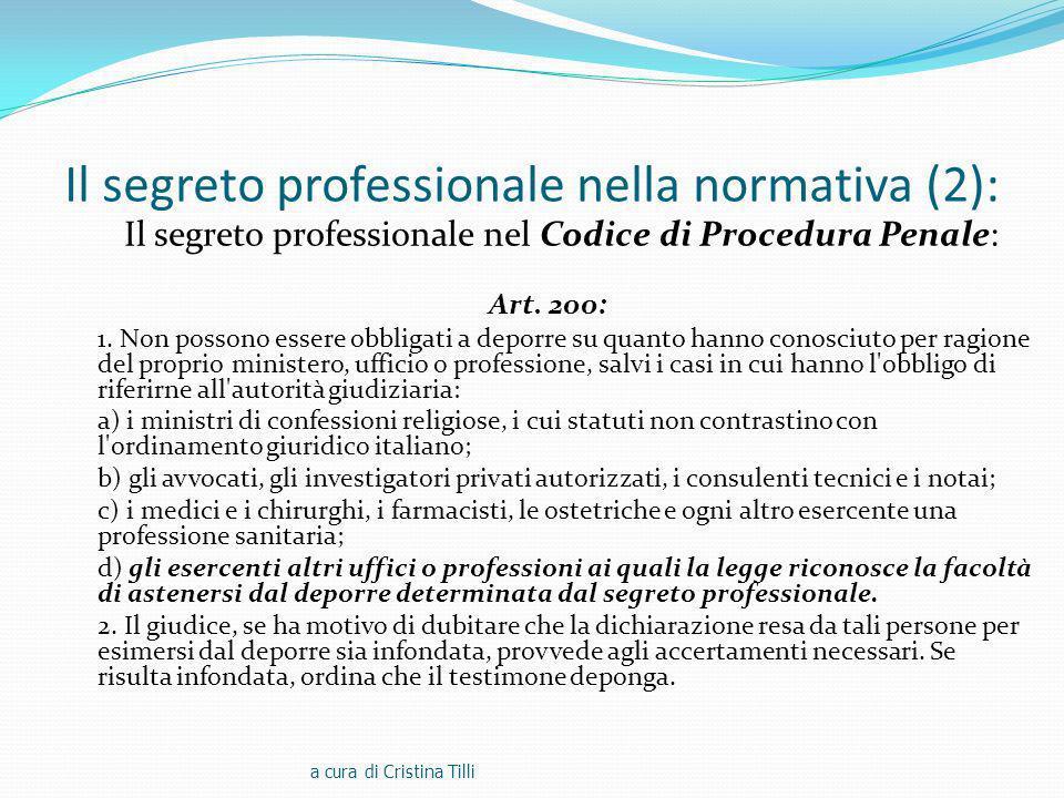 Il segreto professionale nella normativa (2):
