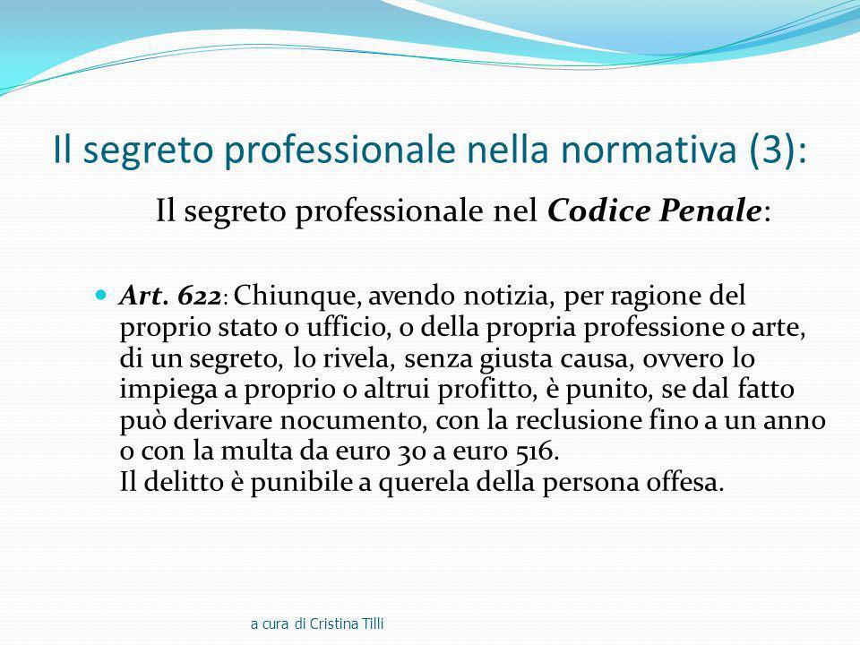 Il segreto professionale nella normativa (3):