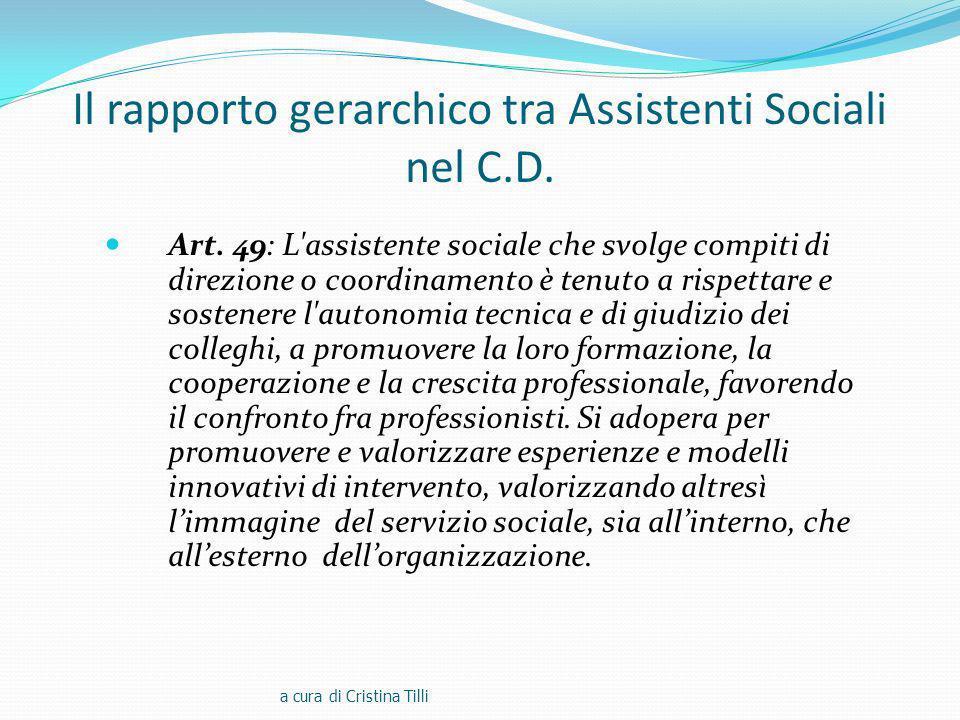 Il rapporto gerarchico tra Assistenti Sociali nel C.D.