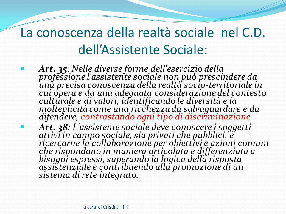 La conoscenza della realtà sociale nel C.D. dell'Assistente Sociale: