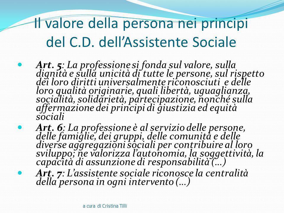 Il valore della persona nei principi del C.D. dell'Assistente Sociale