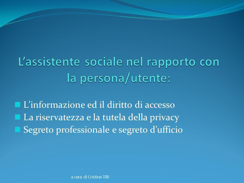 L'assistente sociale nel rapporto con la persona/utente: