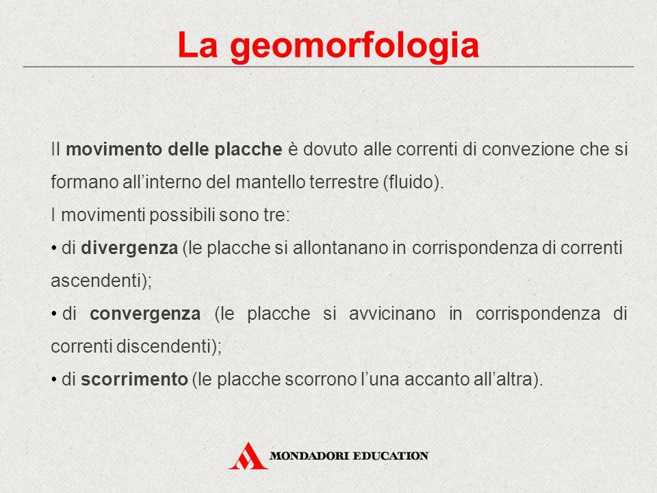 La geomorfologia Il movimento delle placche è dovuto alle correnti di convezione che si formano all'interno del mantello terrestre (fluido).