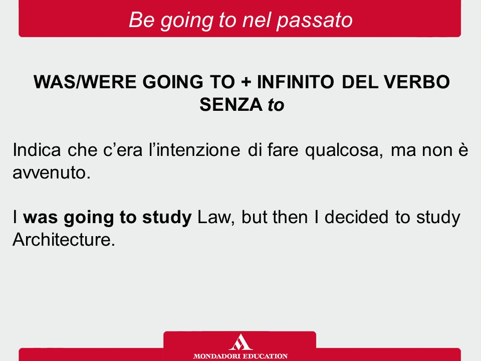 WAS/WERE GOING TO + INFINITO DEL VERBO SENZA to