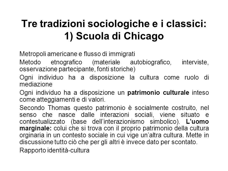 Tre tradizioni sociologiche e i classici: 1) Scuola di Chicago
