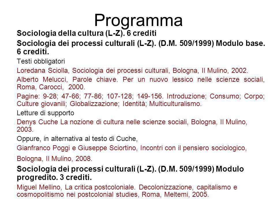 Programma Sociologia della cultura (L-Z). 6 crediti