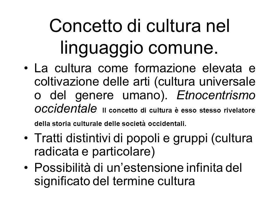 Concetto di cultura nel linguaggio comune.
