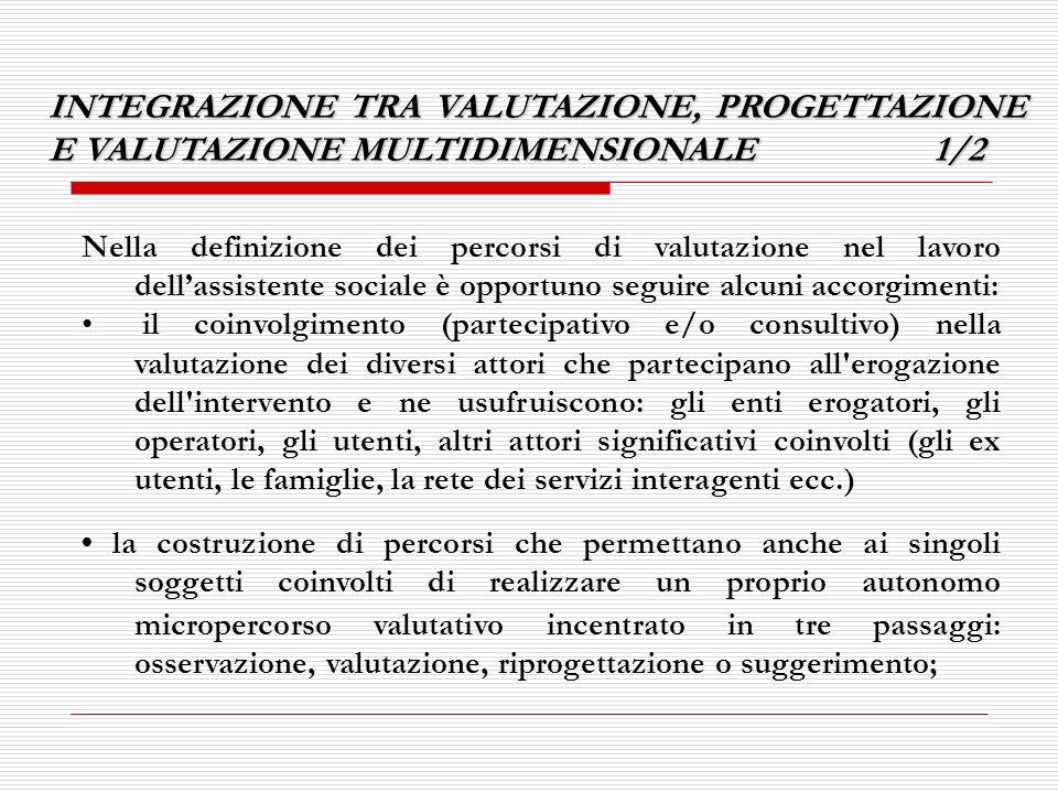 INTEGRAZIONE TRA VALUTAZIONE, PROGETTAZIONE E VALUTAZIONE MULTIDIMENSIONALE 1/2