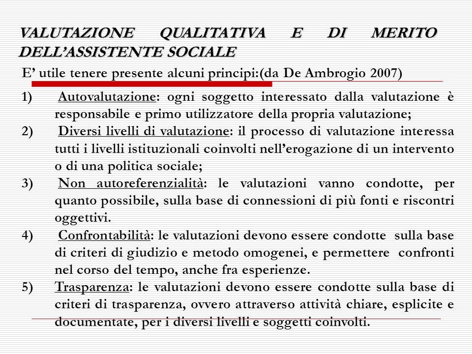 VALUTAZIONE QUALITATIVA E DI MERITO DELL'ASSISTENTE SOCIALE